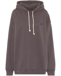 Acne Studios Face Oversized Cotton Hoodie - Gray