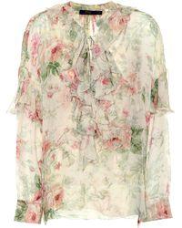 Polo Ralph Lauren - Floral-printed Silk Blouse - Lyst