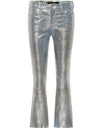 J Brand Selena Mid-rise Crop Leather Pants - Metallic