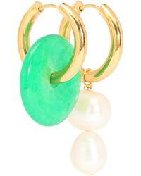 Timeless Pearly Boucles d'oreilles dépareillées à perles et pierre - Métallisé