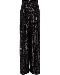 Balmain Pantalones de lentejuelas de tiro alto - Negro