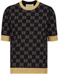 Gucci Top en coton mélangé - Bleu