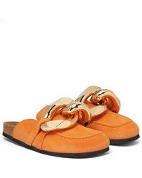 JW Anderson Slippers de ante con adornos - Naranja