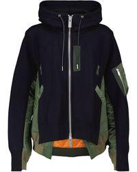 Sacai Hooded Cotton-blend Bomber Jacket - Blue