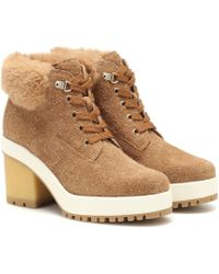 Hogan Suede Ankle Boots - Natural