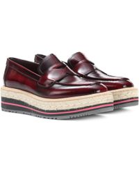 Prada - Leather Platform Loafers - Lyst