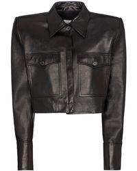 Magda Butrym Cropped Leather Jacket - Black