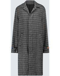 Undercover Checked Long Coat - Black