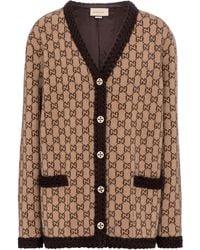 Gucci Cardigan GG aus Wolle - Braun