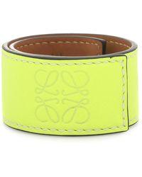 Loewe Anagram Leather Snap Bracelet - Yellow