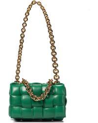 Bottega Veneta The Chain Cassette Padded Leather Shoulder Bag - Green