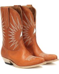 Golden Goose Deluxe Brand Star Embroidered Leather Cowboy Boots - Brown