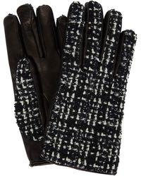 Saint Laurent Handschuhe aus Tweed und Leder - Weiß
