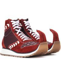 Loewe Sneakers Dinosaur aus Veloursleder - Rot