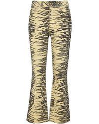 Ganni Jeans flared con stampa tigrata - Nero