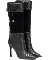 Balmain Stiefel Mina aus Leder - Schwarz