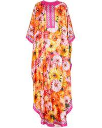 Dolce & Gabbana Cafetan en soie à fleurs - Orange