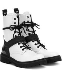 Moncler Calypso Leather Ankle Boots - White