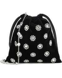 Miu Miu Embellished Velvet Drawstring Pouch - Black