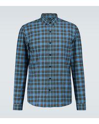 AMI Checked Long-sleeved Shirt - Blue