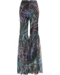 Halpern Printed High-rise Flared Trousers - Multicolour
