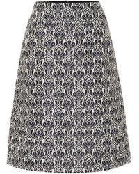 Max Mara Belfast Jacquard Midi Skirt - Blue