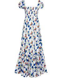 Caroline Constas Gianna Floral Stretch Cotton-blend Maxi Dress - Blue