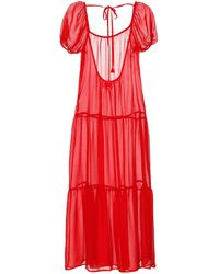 Solid & Striped Sheer Midi Dress - Red