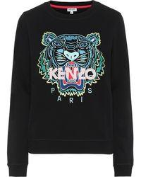KENZO Sweat-shirt Tiger Logo brodé en coton - Noir