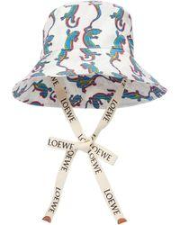 Loewe Paula's Ibiza Printed Cotton Bucket Hat - Blue