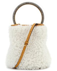 Marni Pannier Small Shearling Bucket Bag - White