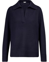 Vince Wool And Cashmere Polo Sweater - Blue