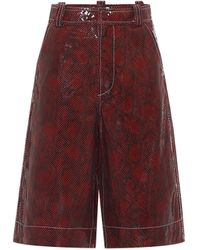 Ganni Snake-effect Leather Shorts - Multicolor