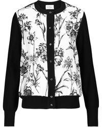 Ferragamo Floral Silk And Cotton Cardigan - Black