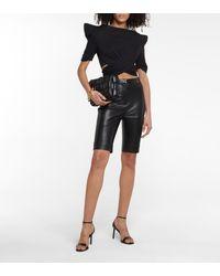 Balmain Short à taille haute en cuir - Noir
