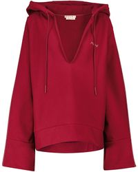 Marni Sweat-shirt à capuche en coton à logo - Rouge