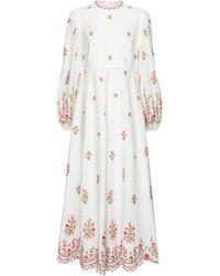 Zimmermann Poppy Embroidered Linen Dress - White
