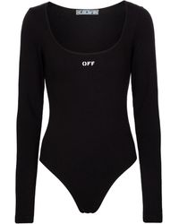 Off-White c/o Virgil Abloh Ribbed-knit Stretch-cotton Bodysuit - Black