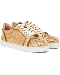 Christian Louboutin - Vieira Spikes Embellished Leather Sneakers - Lyst