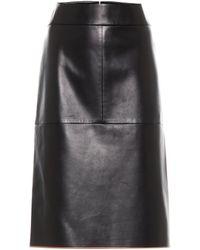 Tod's Leather Midi Skirt - Black