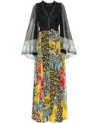 Etro Robe longue en mousseline de soie à imprimé floral - Multicolore