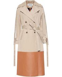 Loewe - Leather-paneled Cotton-gabardine Trench Coat - Lyst