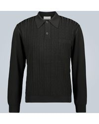 Lemaire Jacquard Knitted Polo Shirt - Black