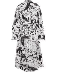 Dolce & Gabbana Trench in nylon con stampa - Bianco