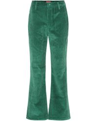 STAUD Cropped High-rise Flared Pants - Green