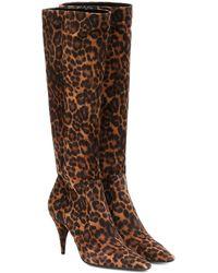 Saint Laurent Stiefel Kiki 85 aus Veloursleder - Braun