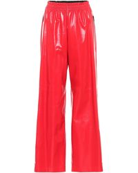 Bottega Veneta Leather Wide-leg Trousers - Red