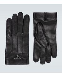 Prada Handschuhe aus Leder mit Logo - Schwarz