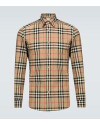 Burberry Hemd aus Baumwollflanell mit Vintage Check-Muster - Natur