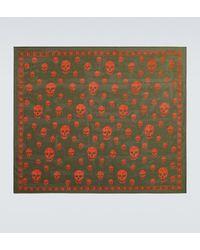 Alexander McQueen Pañuelo de seda con calaveras - Naranja